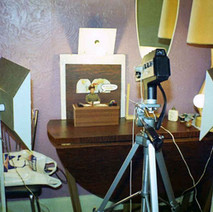 My cine camera and home-made lights setup for filming animated movies. I made the drop-side table that I am working on too. - 26th September 1977 Dunedin Terrace, Clydebank