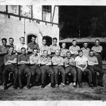My late brother-in-law Tommy Tierney in Stalag IVA in 1944. Tommy is in the back row, 6th from the left Photographed supplied by Mary Tierney. 1944