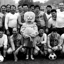 Red Flag and Blue Flag Taxi drivers in Clydebank having a Charity football match in the late 80s. Photo supplied by Davie 'Banjo' Parker