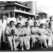 Clydebank Cricket Club.   SEASON 1956 Back row:- B. McGonigal, H. Tate, J Murray, A. Michie, R. Mullen, T. McAllister, J. Todd. Front row:- F Tait, P. McFarlane, W. Martin, D King (Capt), R. Abercrombie, W. Tyler. - Photo supplied by Billy McKain and Davie King,