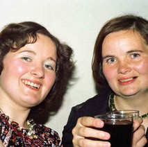 Helen with her sister, Mary, having a wee refreshment. - Douglas Hotel, Clydebank 13th august 1977