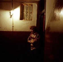 My nephew David standing in a gaslit close in Maryhill - 1978