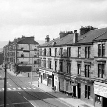 The tenements across the road from Clydebank Town Hall. - Photo by William Duncan