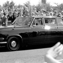 The Queen is leaving now, she has a busy day today visiting various locations in Clydebank for the 100th Anniversary of Clydebank Burgh.  -  Whitecrook 9th August 1986