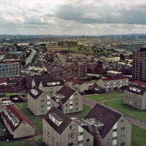 A view from the Radnor Park flats looking towards Clydebank College and Kilbowie Road. - Photo by Philip MacKay. May 1988
