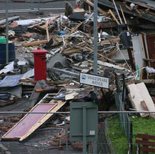Shops on Hawthorn Street, Parkhall, after the explosion. It was lucky that it happened so early in the morning as no one was about to get injured or killed. - October 2006. Photos taken and supplied by Philip MacKay.
