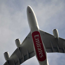 "An Airbus A380 ""super jumbo"" operated by Emirates flies over Clydebank. Thousands of aviation fans turned up to watch the giant aircraft arrive on Scottish soil for the first time. - 10th April 2014"