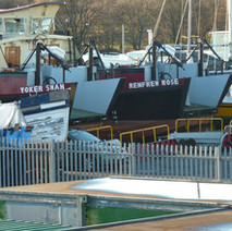 Rothesay Dock. The two old ferries, the Yoker Swan and the Renfrew Rose are in dry dock, with their ramps removed. -  11th January 2011