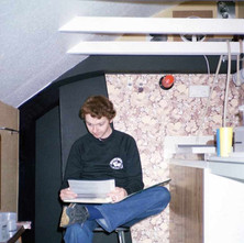 David in our darkroom at Low Cresent. We built this up the loft. Behind David is the black-out tunnel which had staggered walls which meant we could go in and out the darkroom without any light entering. - Low Crescent 2nd September 1982