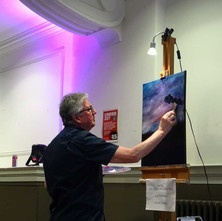 Jim O'Donnell doing a demonstration of oil painting in Clydebank Town Hall. - 9th April 2017