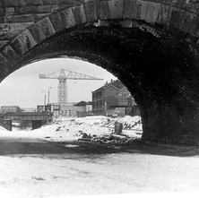 Looking through the underpass toward the shipyard. It was very cold and I was frozen. Looking towards Glasgow Road. - 3rd February 1980