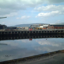 Looking across the Fitting Out Basin.  -  9th April 2002