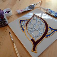 A ceramic tile art piece I am creating at the Dalmuir Park Art Class.  -  23rd January 2014