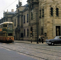 Tram passing Clydebank Town Hall - from the collection of Jack Carson