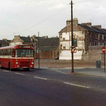 The Clydebank Bus on Glasgow Road passing Hume Street, all the tenements gone. - Photo by Tommy Quinn.
