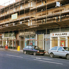 The scaffolding is up on Kilbowie Road. The tenements are getting restored.  -  December 1981