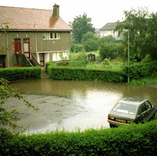 A lot of rain in Low Crescent.Typical Clydebank Fair weather! - Whitecrook, Clydebank. 5th July 1985.