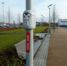 New bins for chewing gum and cigarette butts have appeared on lamp posts at the Clyde Shopping Centre. They look like litte Aliens to me. - 15th February 2011