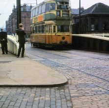 Tram crossing canal bridge in Dalmuir - from the collection of Jack Carson