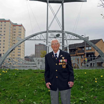 This is Freddie Smith standing in front of the HMS Ramillies. - Sunday 25th April 2010 Dalmuir