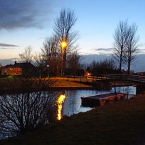 Evening time on the Forth & clyde Canal at the Linnvale Bridge.  -  26th February 2015