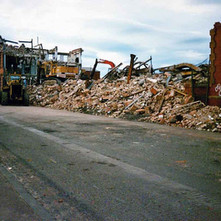 The UCBS biscuit factory being demolished. It was built in 1903. Clydebank 1987. Photos taken by Sarah from California, USA
