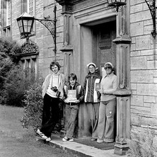David, Stephen, Maureen, and Anne in the University grounds. Stephen has his Mad magazine and Airfix plane kit, Anne has her 'Scottish Passport'. - Sunday 23rd July 1978