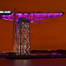 The Titan Crane is lit purple to commemorate Holocaust Memorial Day. - 27th January 2015