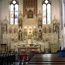The beautiful altar in Our Holy Redeemer Church on Glasgow Road Clydebank. Glasgow road Clydebank 26th March 1978
