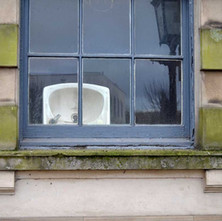 A sink in the Town hall window. The Town Hall is getting renovated. - 2nd April 2012
