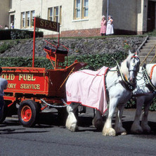 Solid Fuel Advisory Service horses and cart in Parkhall. Clydebank Centenary Celebrations 1986 - photo by Sam Gibson