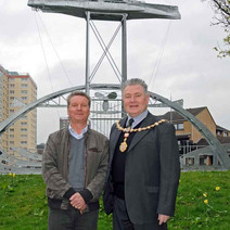 Tom and Denis with the Beardmore Sculpture. - Sunday 25th April 2010 Dalmuir