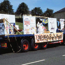 The UB40 Unemployment float in Parkhall. Clydebank Centenary Celebrations 1986 - photo by Sam Gibson