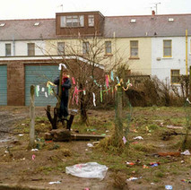 Young Stephen playing at the end of Low Crescent. This is where Harvey's wee shop used to be. - Whitecrook, Clydebank. December 1981