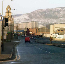 A panorama of Glasgow Road.  -  December 1983