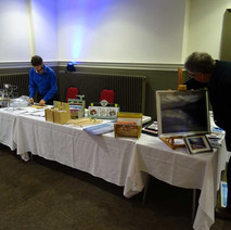 Setting up the Awestruck table in Clydebank Town hall. - 9th April 2017