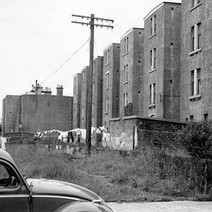 The back courts of Dalmuir tenements on Dumbarton Road. - Photo by William Duncan