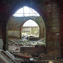 The wrecked inside of St Columba's Episcopal Church on Glasgow Road, which closed 1996, and has been left to the vandals and nature.  -  28th February 2015