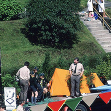The Scouts float in Parkhall. - Clydebank Centenary Celebrations 1986 - photo by Sam Gibson