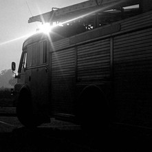 Sun going down on a Glasgow fire tender. - Saturday 17th May 1980