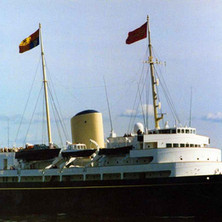 The Royal Yacht Britannia. Clydebank Centenary Celebrations 1986 - photo by Wallace McIntyre. HMY Britannia was built at the shipyard of John Brown & Co. Ltd in Clydebank
