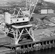 A crane in the woodyard viewed from high up on Dumbarton Rock. - August 26th 1978