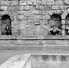 My nieces and nephews playing at being gargoyles. - Sunday 23rd July 1978