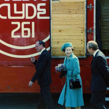 The Queen at Radio Clyde in the Business Park. Clydebank Centenary Celebrations 1986 - photo by Wallace McIntyre