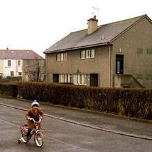 Young Susan out on her new bike in Low Crescent. - Whitecrook, Clydebank. December 1981