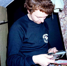 My nephew David, one third of our Darkroom Club. We are planning to print some colour here which was quite dificult. - Low Crescent 2nd September 1982