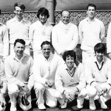 Clydebank Cricket Club on tour in Aberdeen in 1970. Back Row Scott Martin , Denis Taylor ,Brian Martin , Bob Mullen , Sandy McNicol ,Bill Martin. Front Row Billy McKain , Ronnie Riddell , Davie King , Billy King , Ian Webster , Alastair Hendry - Photo supplied by Billy McKain