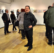 My friend, Will Wilson's Photography Exhibition in the Back Door Gallery, Dalmuir Library. Will is enjoying his opening night. - 23rd February 2017