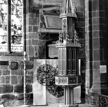 The baptismal font in Wakefield Cathedral. - Yorkshire 12th july 1979
