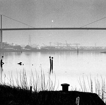 Early morning photo of the Erskine Bridge with John Brown's shipyard in the background, taken from Bowling. - February 1981
